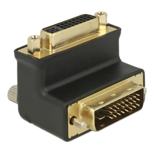 Adapter DVI 24+1 male > DVI 24+5 female port 90° angled