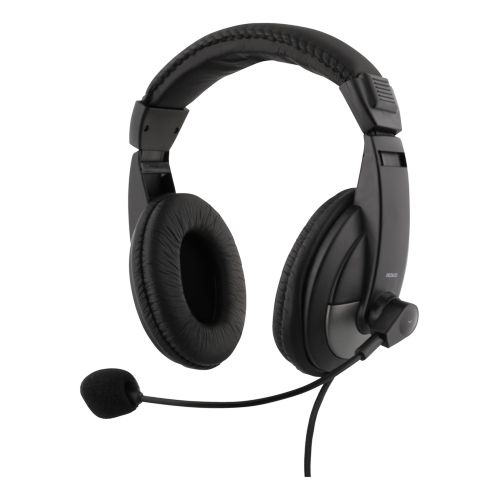 DELTACO over-ear headset med volymkontroll, 4-polig 3,5 mm, svar